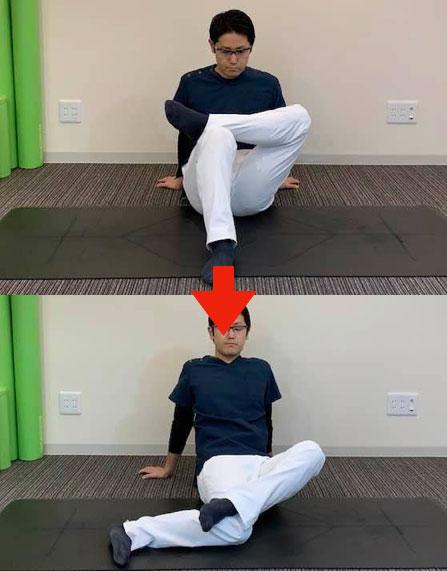 股関節の内旋ストレッチ
